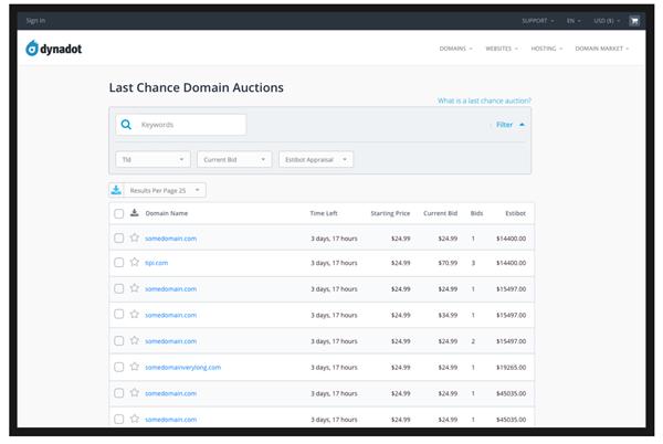 Dynadot Last Chance Domains Auction overview image